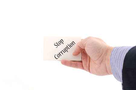 misconduct: Stop corruption text concept isolated over white background Stock Photo
