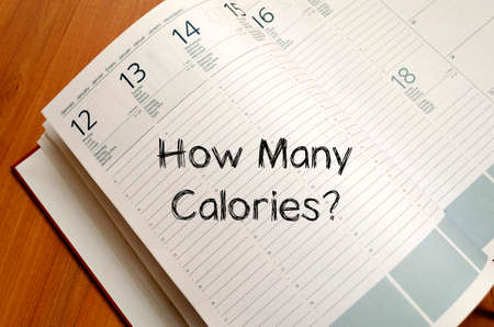 intake: How many calories text concept write on notebook