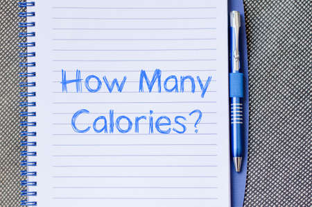 eating questions: How many calories text concept write on notebook