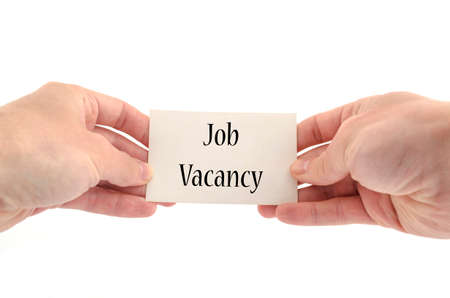 vacancy: Job vacancy text concept isolated over white background Stock Photo