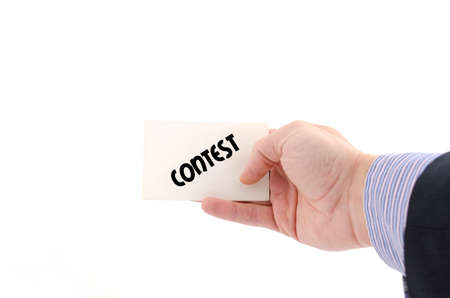 debate win: Contest text concept isolated over white background