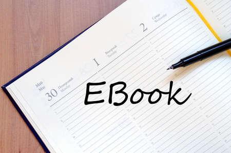 schoolroom: Ebook text concept write on notebook
