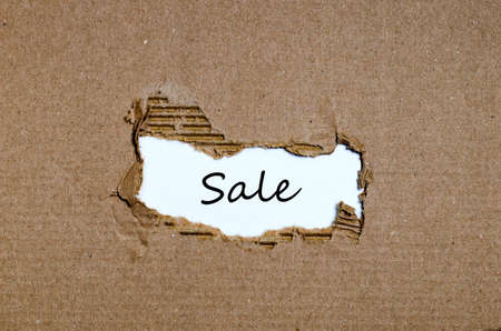 appearing: The word sale appearing behind torn paper Stock Photo