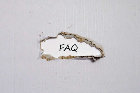 appearing: The word faq appearing behind torn paper