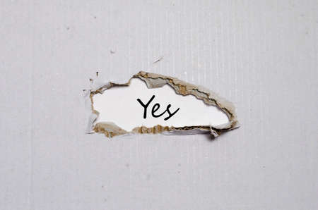appearing: The word yes appearing behind torn paper