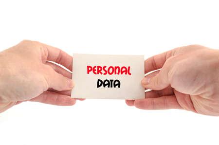 datos personales: Concepto de texto en los datos personales aislados sobre fondo blanco