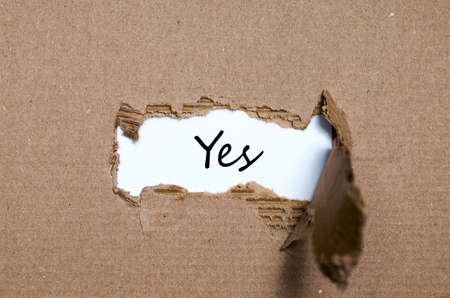 yea: The word yes appearing behind torn paper