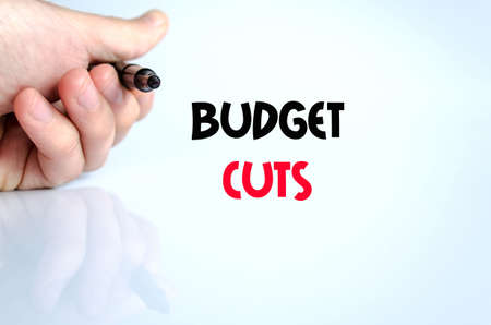 gov: Budget cuts text concept isolated over white background