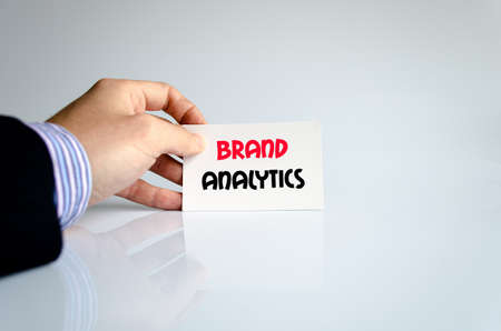 brand monitoring: Brand analytics text concept isolated over white background Stock Photo