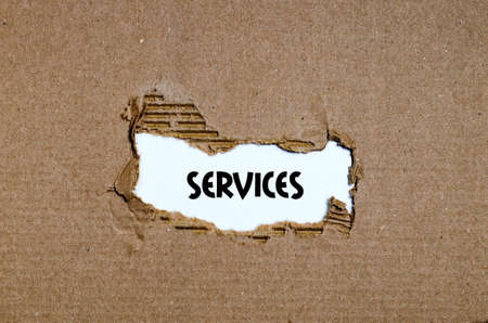 appearing: The word services appearing behind torn paper