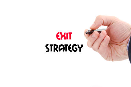 downsize: Exit strategy text concept isolated over white background