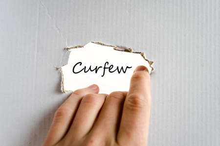 curfew: Curfew text concept isolated over white background Stock Photo