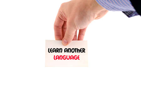scholastic: Learn another language text concept isolated over white background Stock Photo
