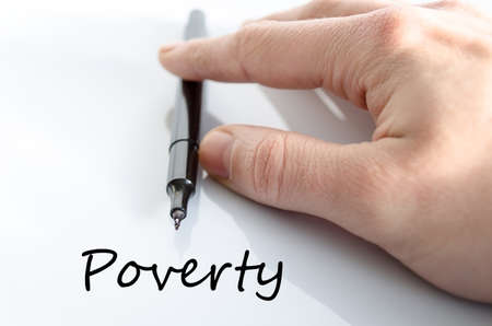 Poverty text concept isolated over white background Stock Photo