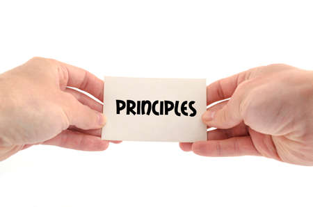 principles: Principles text concept isolated over white background Stock Photo