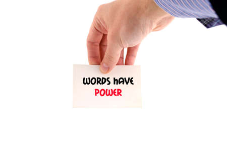 rhetorical: Words have power text concept isolated over white background Stock Photo