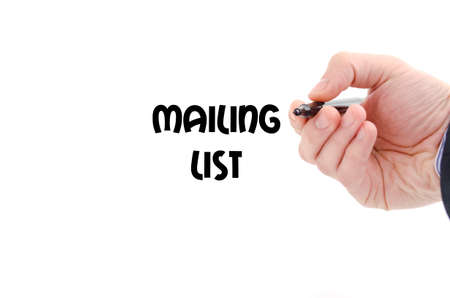 mailing: Mailing list text concept isolated over white background