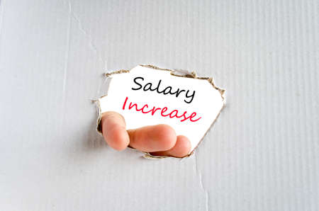 pay raise: Salary increase text concept isolated over white background