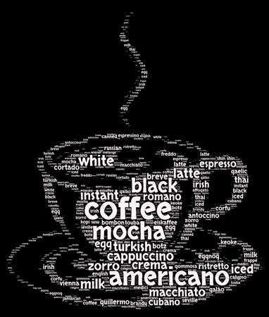 freeze dried: Coffee word cloud concept in shape of cup
