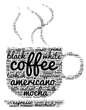 cortado: Coffee word cloud concept in shape of cup