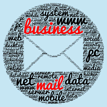 remote server: Business mail word cloud concept in shape of mail Stock Photo