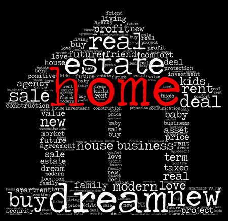 agency agreement: Home word cloud concept in house shape Stock Photo