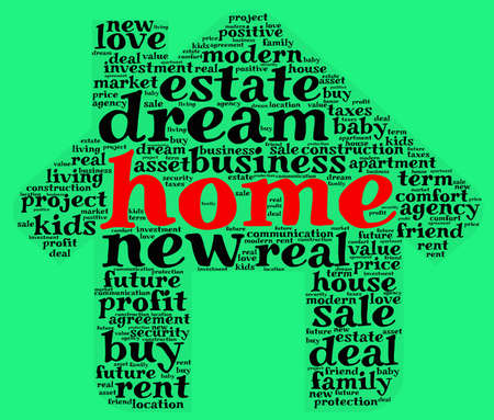 Home word cloud concept in house shape Stock Photo