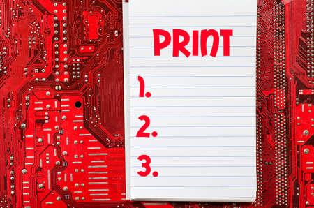 Red old dirty computer circuit board and print text concept Stock Photo