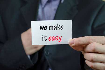 We make it easy text note concept over business woman background
