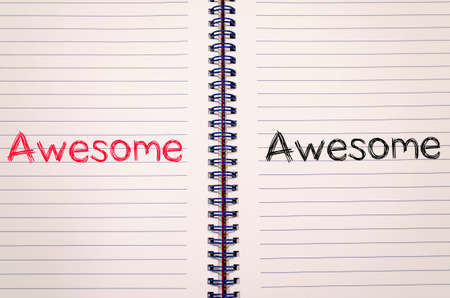 praise: Awesome text concept write on notebook