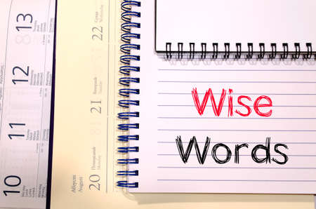 sagacious: Wise words text concept write on notebook Stock Photo