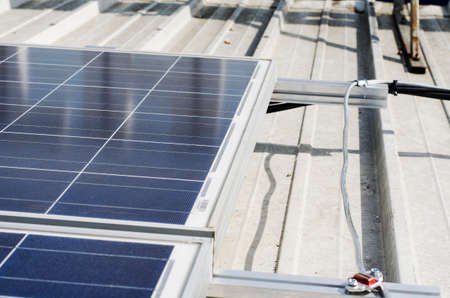 voltaic: Closeup of solar panels and polycrystalline photovoltaic cells Stock Photo