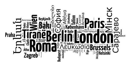 serbia and montenegro: Capitals in europe in europe word cloud concept