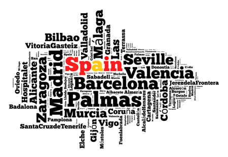 Localities in Spain word cloud concept