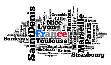 Localities in France word cloud concept