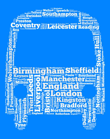 Localities in England word cloud concept over bus shape