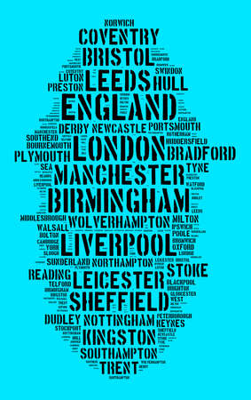 Localities in England word cloud concept