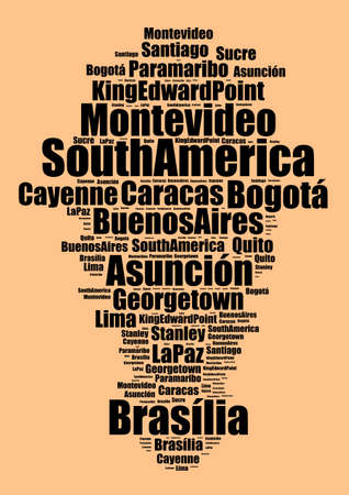 Capitals in South America word cloud concept