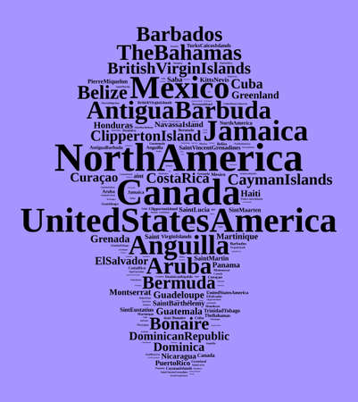 States and territories in North America word cloud concept