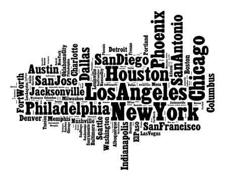 indianapolis: List of United States cities word cloud concept