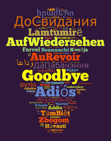 Word Goodbye in different languages word cloud concept
