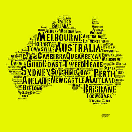 Largest cities in Australia word cloud concept Stock Photo