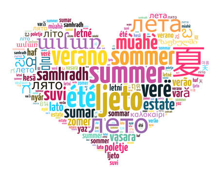 Word Summer in different languages word cloud concept Stock Photo