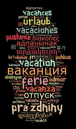 Word Vacation in different languages word cloud concept Stock Photo