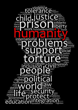 Humanity word cloud concept over dark background