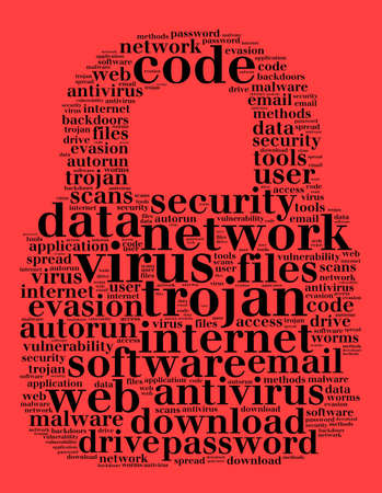Virus word cloud concept over red background