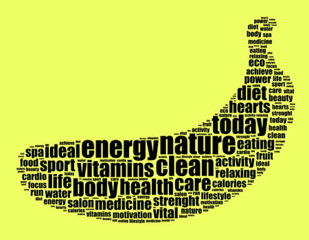 Nature word cloud concept over yeallow background