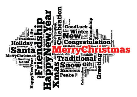 Merry Christmas word cloud concept over white background