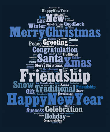 Merry Christmas word cloud concept over dark background