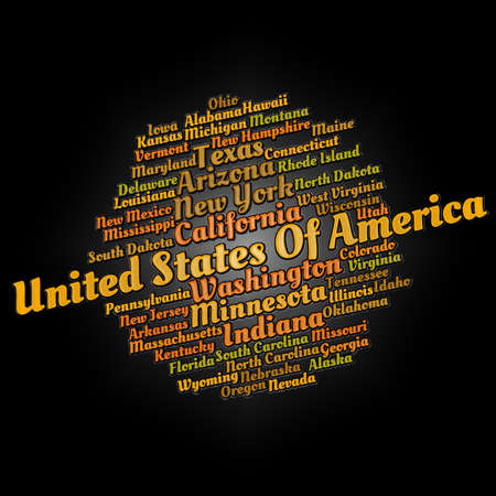 United States cities word cloud text concept